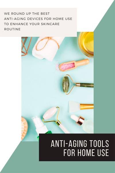 flat lay of anti aging face tools